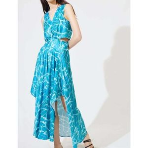 Maje x Slim Aarons Poolside Satin Scarf Dress